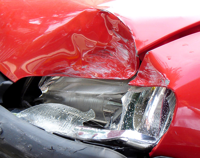 Car accident vehicle red
